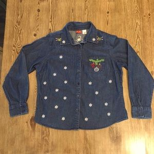 Tops - Denim Ugly Christmas Shirt
